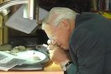 Sir David Attenborough inspecting fossils.
