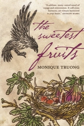 The book cover of The Sweetest Fruits by Monique Truong featuring an illustration of a bird approaching a nest of fruits