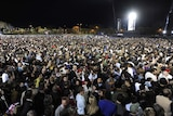 Supporters of Barack Obama gather at Grant Park in Chicago on the evening the US election