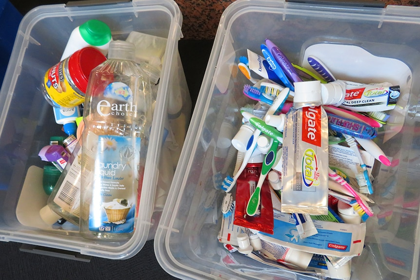 Plastic packaging and toiletry items for recycling, from Waste Wall, Hobart.