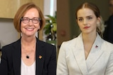 Portrait photos side by side of Julia Gillard, smiling direct to camera, and Emma Watson, looking to the distance. Both in suits