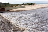 Stormwater runs from the Torrens into the Gulf off Adelaide