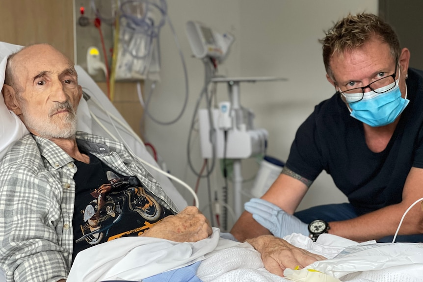 Mark Kilian with his dying father Frans