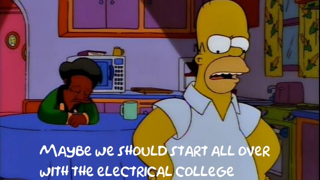 """Apu sits, head in hands, while Homer stands, hands on hips, saying """"maybe we should start all over with the electrical college"""""""