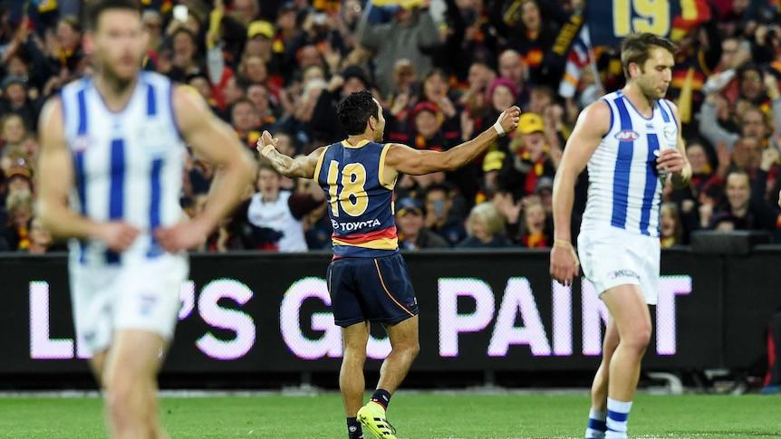 Eddie Betts celebrates a goal against North Melbourne
