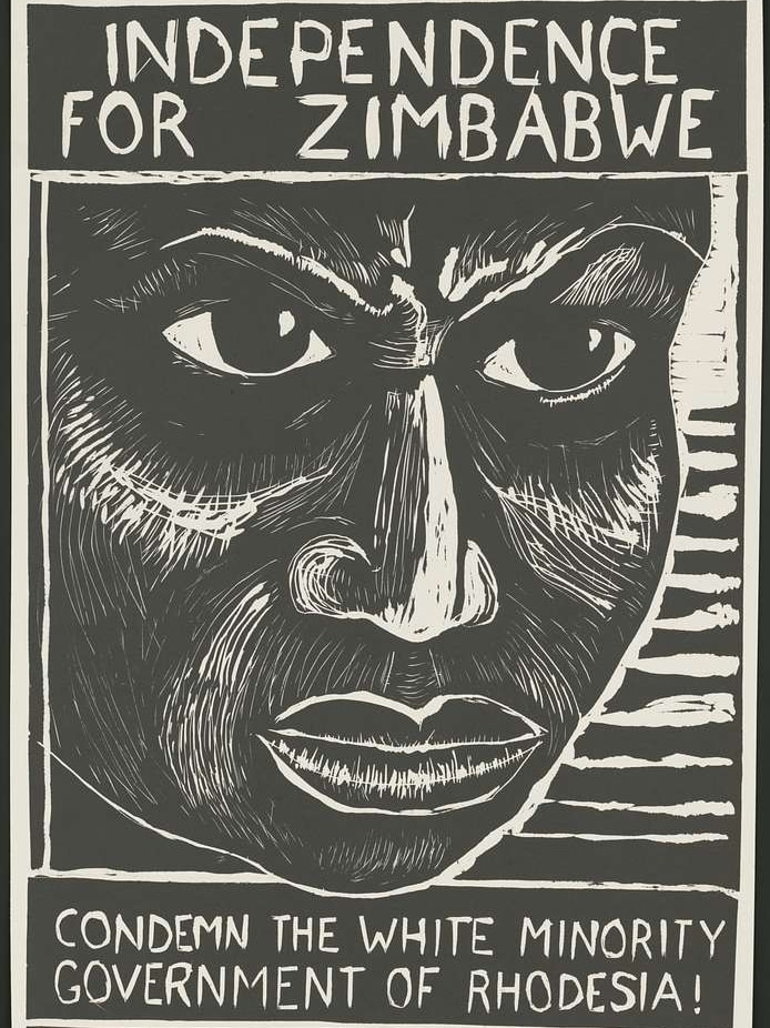 A black and white poster shows a close-up image of a Zimbabwean that reads 'Independence for Zimbabwe'