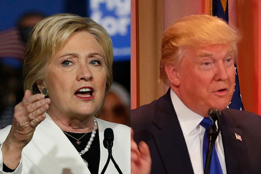 Hillary Clinton and Donald Trump on Super Tuesday