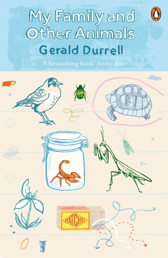 The book cover of My Family and Other Animals by Gerald Durrell featuring illustrations of animals