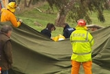 Emergency workers at the scene where a man died at Tungkillo
