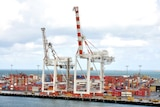 Cranes and shipping containers at Fremantle Port.
