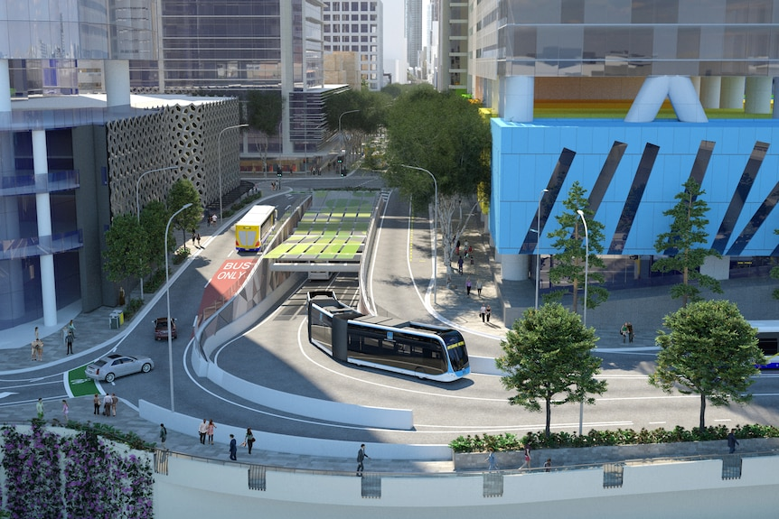 A concept image showing a tunnel under Adelaide Street in Brisbane