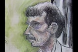 Court drawing of Barrie Watts