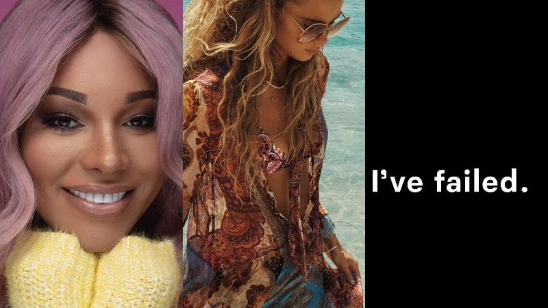 Three images: A smiling black woman with purple hair, a white woman modelling swimwear, and the words 'I've failed'