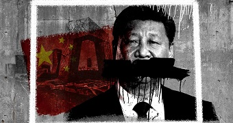 A picture of Xi Jinping with a black stripe running across his mouth.