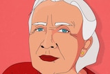 An illustration of an older woman with white hair on a red background