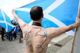 Yes supporter at rally