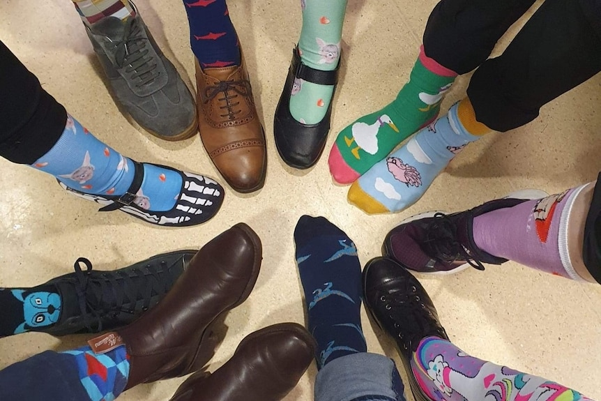 Several people's feet in a circle, wearing crazy multi-coloured socks.