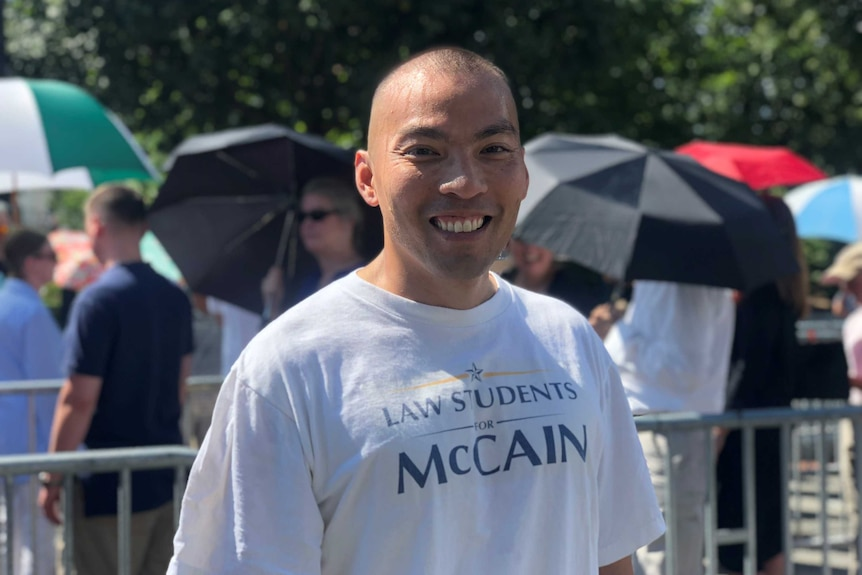 Yuwynn Ho outside the Capitol Rotunda where John McCain's body lay.
