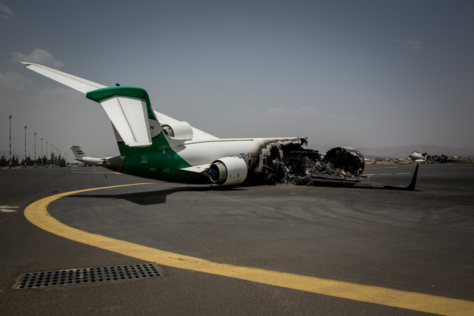 A new plane sits destroyed at Sana'a Airport.