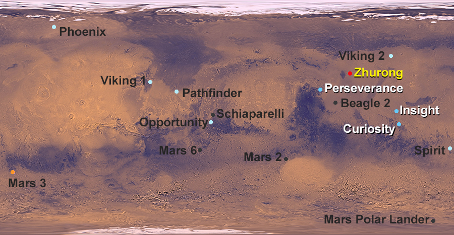 map showing landing site for Zhurong rover