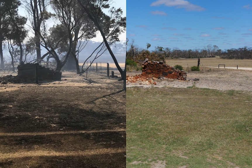 A before and after photo of a charred brick wall at a property in Sherwood.