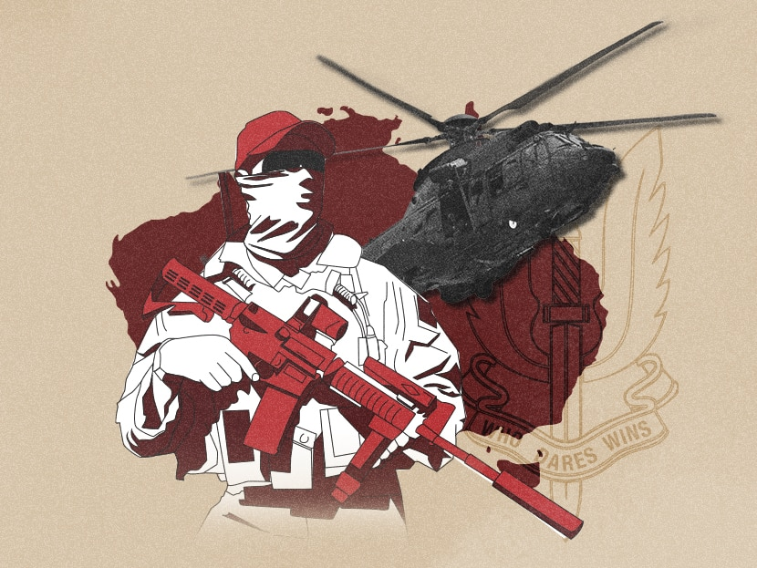 A collage illustration of a soldier wearing a white mask and holding a gun and a helicopter in front of Australia.