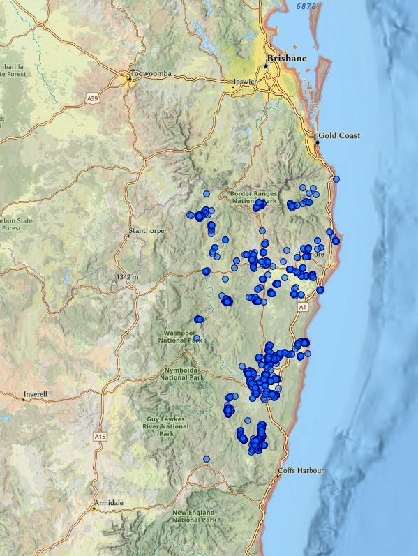 Map of TSA incursion in NSW