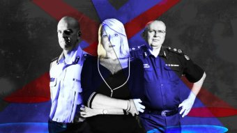 A stylised graphic shows Simon Overland, Nicola Gobbo and Graham Ashton.