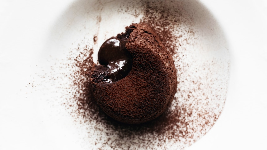 An individual chocolate pudding with a melted chocolate middle, topped with cocoa powder, a simple make at home dessert.