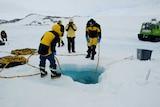 Diving through sea ice near Casey Station, Antarctica