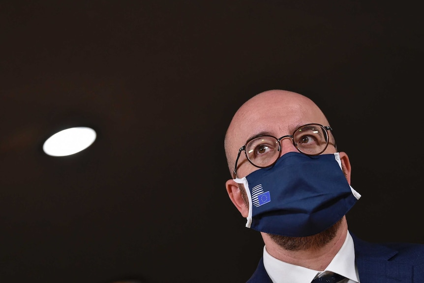 European Council President Charles Michel wears a protective mask.
