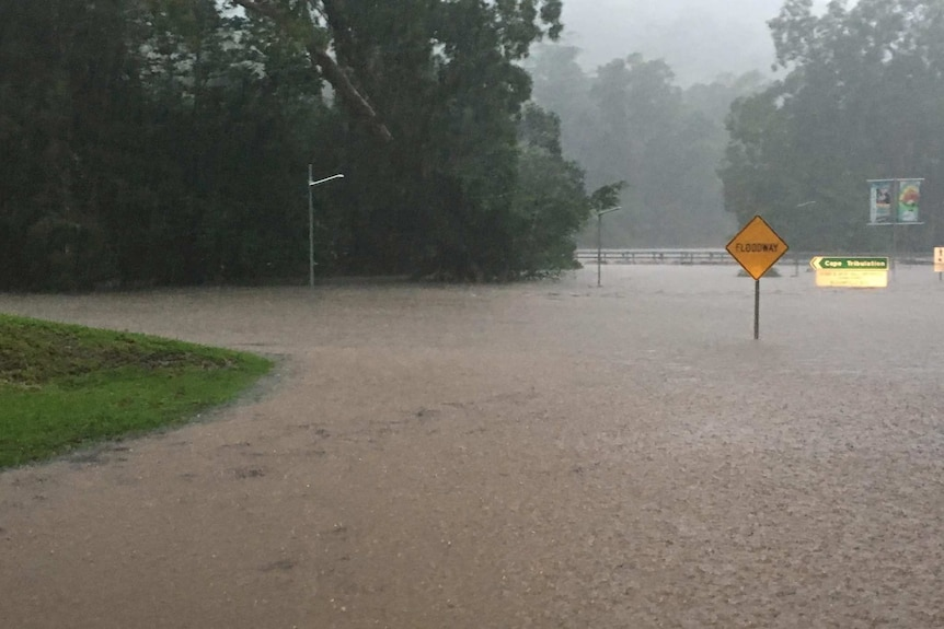 Flooding around the Bloomfield Bridge at Wujal Wujal.