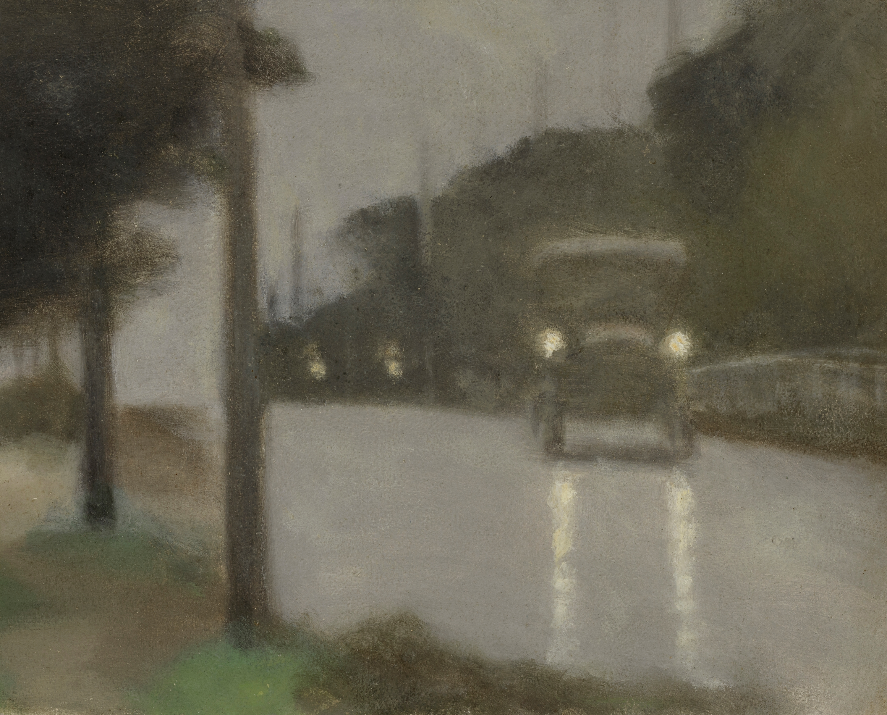A painting by Clarice Beckett, blurry realism, of a 1920s car driving on a misty street