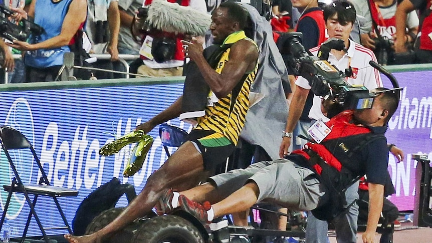 Usain Bolt is knocked flying by a Segway