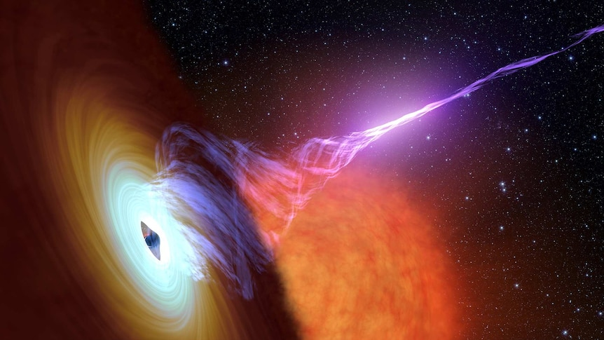 A black hole and its accretion disc.