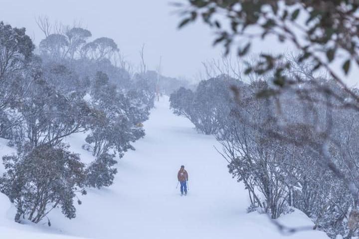 Person skiing on empty runs.