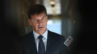 Federal government frontbencher Angus Taylor wears a suit and answers a question from a reporter.