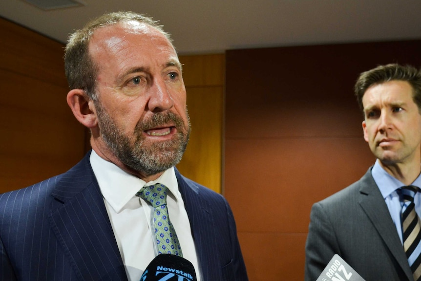 Andrew Little speaks to the media.