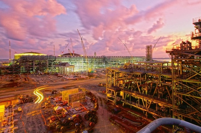 The sun rises at Inpex's Ichthys LNG site at Bladin Point near Darwin.