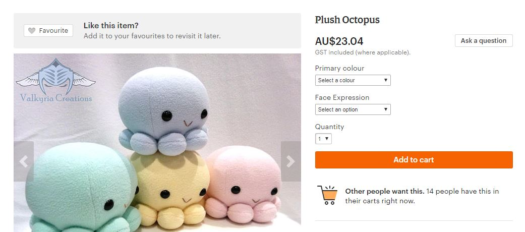A screenshot from the Etsy website.