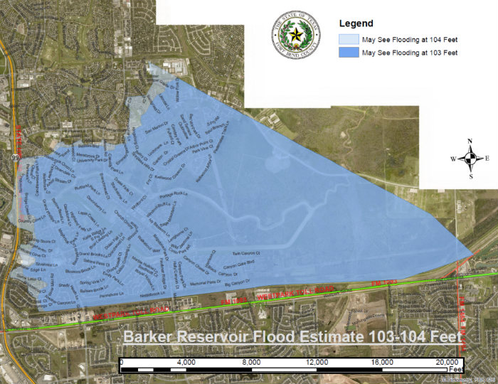 A map shows widespread 'catastrophic' flooding in Houston