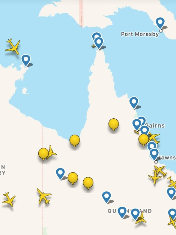 Radar image of Project Loon balloons over northern Australia.