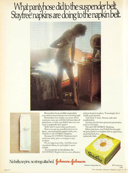 Magazine ad with image of woman in white slip adjusting her stockings