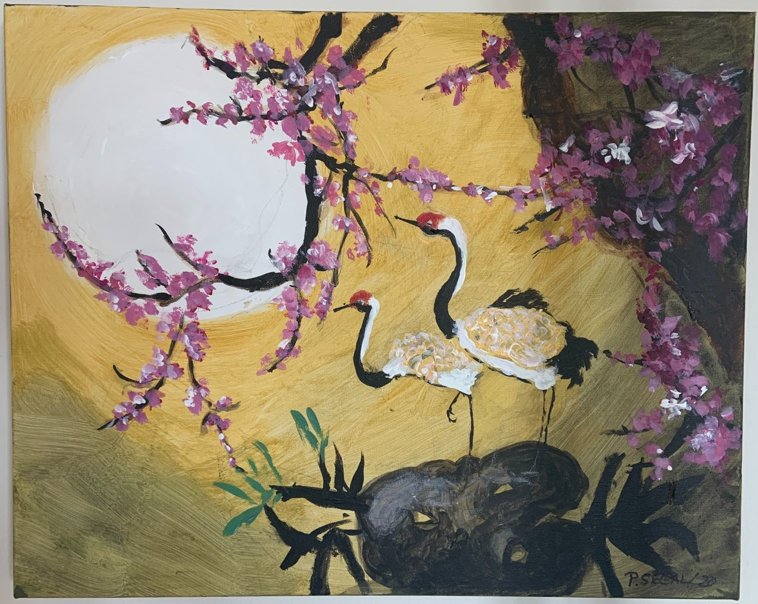 A painting with a gold background showing two red and white birds looking at a moon framed by pink cherry blossom flowers