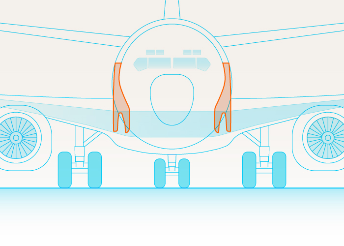 A graphic of a part of a plane connecting the wings to the body.