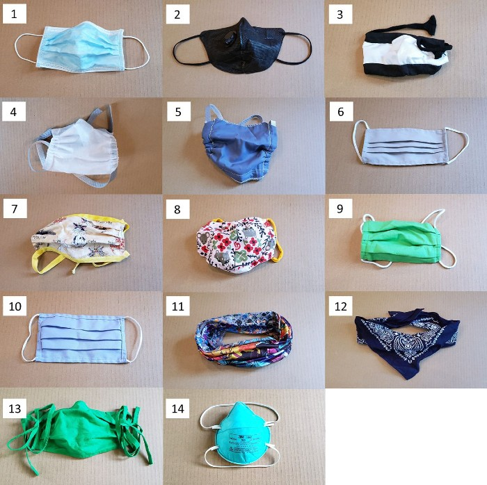 A flat lay of 14 different types of masks.