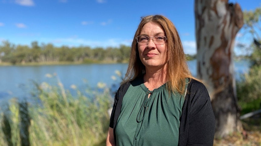 Chairperson of the South Australian Murray Irrigators Caren Martin standing outside posing for a photo