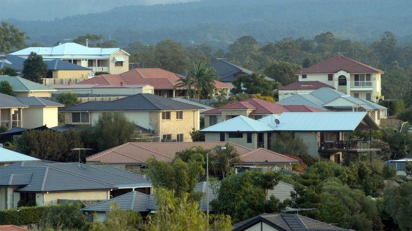 House roofs in Australian suburbia