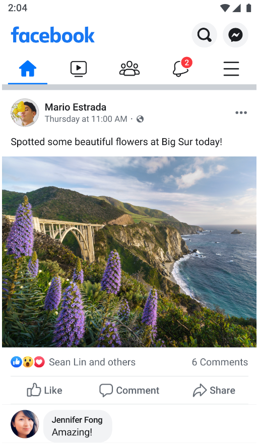A facebook post with an outdoor image that doesn't show the number of likes.