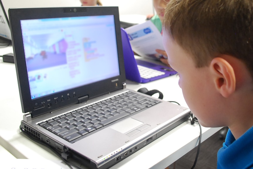 Student looking at a laptop computer.